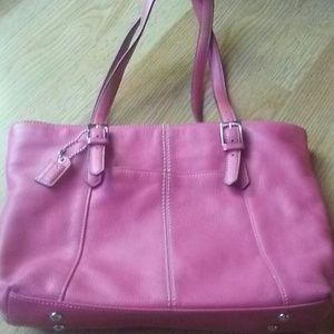 Pink leather hand bag